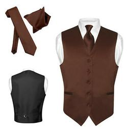 Men's Dress Vest NeckTie Hanky CHOCOLATE BROWN Neck Tie Set