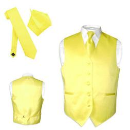 Men's Dress Vest NeckTie Hanky GOLDEN YELLOW Color Neck Tie