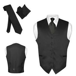 Men's Dress Vest NeckTie Hanky Solid BLACK Color Neck Tie Se