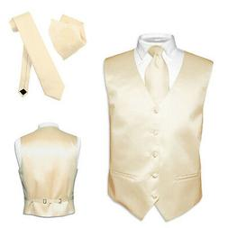 Men's Dress Vest NeckTie Hanky TAN Light BROWN Neck Tie Set