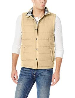 UNIONBAY Men's Flannel Lined Canvas Vest, Desert, Large