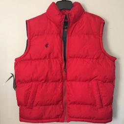 Men's Large Puffer Vest Sherpa Collar Red Large U. S. Polo A