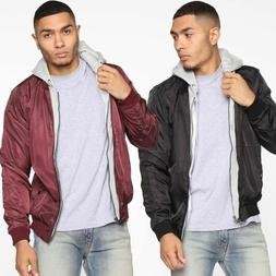 Men's Lined Hooded Bomber Jacket Full Zip Fleece Outdoor Out
