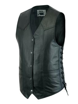 Men's Motorcycle Leather Vest Biker Club Easy Patch Sew Ride