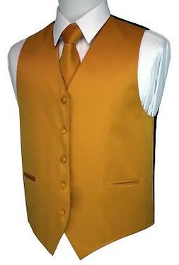 MEN'S MUSTARD SATIN TUXEDO VEST, TIE & HANKIE SET. WEDDING,