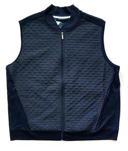 Perry Ellis Men's Nwt Quilted Zip Front Dark Sapphire Blue V