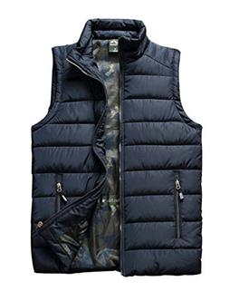 Vcansion Men's Outdoor Casual Stand Collar Padded Vest Light