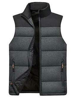 Vcansion Men's Outdoor Casual Stand Collar Padded Vest
