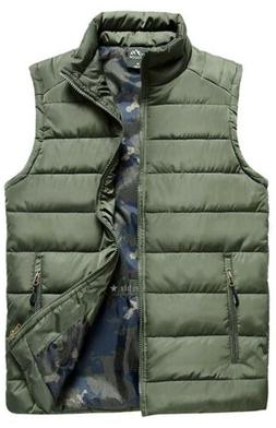 Vcansion Men's Outdoor Casual Stand Collar Padded Vest Coat,