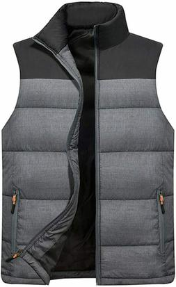 Vcansion Men's Outdoor Casual Stand Collar Padded Vest Large