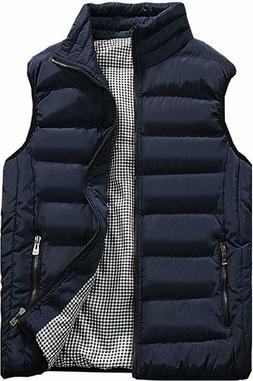 Vcansion Men's Outdoor Stand Collar Padded Vest Coat in Navy
