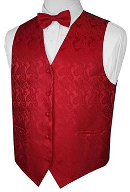 Brand Q Men's Paisley Vest Bow-Tie Set-Red 3XL