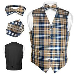 Men's Plaid Design Dress Vest BOWTie Navy BROWN White BOW Ti