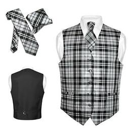 Men's Plaid Design Dress Vest NeckTie Black GRAY White Neck