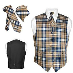 Men's Plaid Design Dress Vest NeckTie Navy BROWN White Neck
