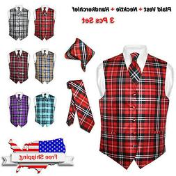 Men's Plaid Dress Vest NeckTie BROWN Blue RED GRAY PURPLE Ne