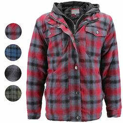 vkwear Men's Quilted Lined Cotton Plaid Flannel Layered Zip