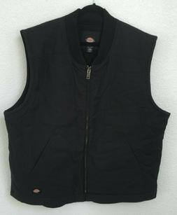 Dickies Men's Sanded Duck Insulated Quilted Vest Black NWOT
