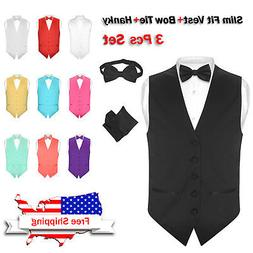 Men's SLIM FIT Dress Vest BOW Tie Hanky Set Formal Suit Tuxe