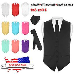 Men's SLIM FIT Dress Vest Narrow NeckTie Hanky Set Formal Su