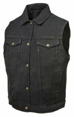Men's Snap Front Denim biker Vest w/ Shirt Collar- Black- Sa