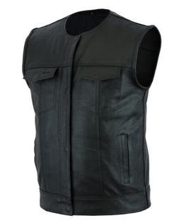 Men's SOA Collarless Leather Vest Motorcycle Biker Club Conc