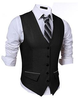 Men's Suit Vest, V-Neck 5 Button 2 Pocket Slim Fit Formal Ca
