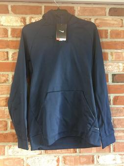 MEN'S Sz Large NIKE DRI-FIT TRAINING PULLOVER HOODIE Navy Bl