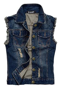 Zicac Men's Top Design Denim Vest Waistcoat with Broken Hole