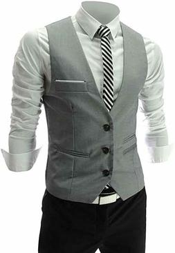 Zicac Men's Top Designed Casual Slim Fit Skinny Dress Vest #