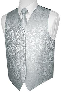 Brand Q Men's Tuxedo Vest, Tie & Pocket Square Set-Silver Pa