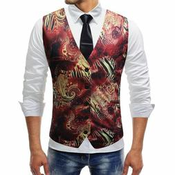 Men's Vest Sleeveless Suit Accessory Formal Floral Casual St