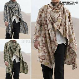 Men's Vintage Floral Poncho Cape Coats Long Waistcoat Jacket