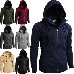 Men's Winter Casual Solid Zipper Sweatshirts Hooded Coats Ja