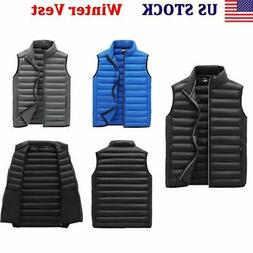 Men's Winter Warm Padded Quilted Vest Body Sleeveless Jacket