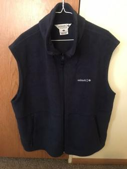 Men's XL Columbia Navy Blue Fleece Vest Sweater Full Zip Nev