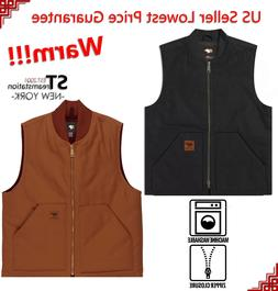 Men Sandstone Canvas Quilted Thermal Lined Vest Industrial W