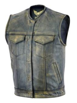 Men SOA Anarchy distress brown motorcycle biker Leather Vest