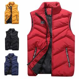 Men Winter Sleeveless Zipper Vest Puffer Warm Outwear Padded