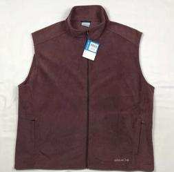 Columbia Mens 2XL Light Burgundy Full Zip Fleece Jacket Vest