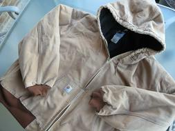 mens 3X Carhartt Canvas Quilt Lined Jacket with Hood 3XL J14