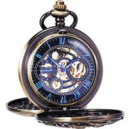 ManChDa Mens Antique Skeleton Mechanical Pocket Watch with C