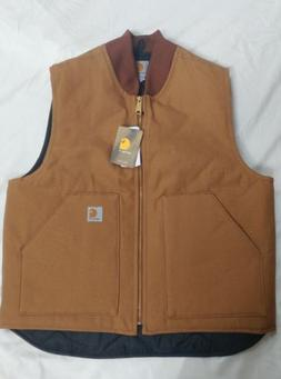 Mens Carhartt Arctic Quilt Lined Duck Vest Brown NWT XL