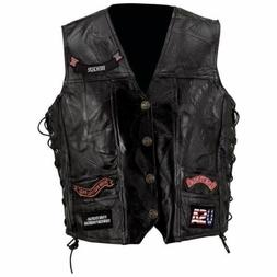 BLACK LEATHER VEST w/ 14 Patches Mens Genuine Motorcycle US