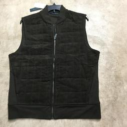 mens perry ellis brown sueded quilted vest jacket sweater 2X