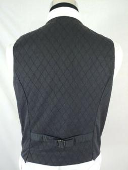 Perry Ellis Mens Charcoal Gray Quilted Cotton Vest Waistcoat