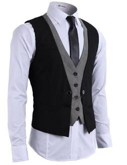 H2H Mens Fashion Business Suit Layered Vest With Chain Rings