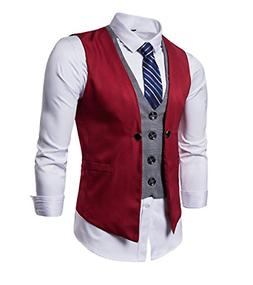 AOYOG Mens Formal Business Vest for Suit or Tuxedo Red2#,US