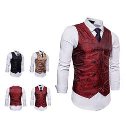 Mens Formal Vest Slim Dress Vest Tuxedo Suit Waistcoat Paisl