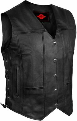Mens Genuine Leather 10 Pockets Motorcycle Biker Vest Laces